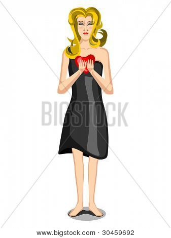 Young girl having a red heart shape, isolated on white.