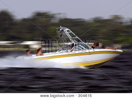 White Boat Speeding