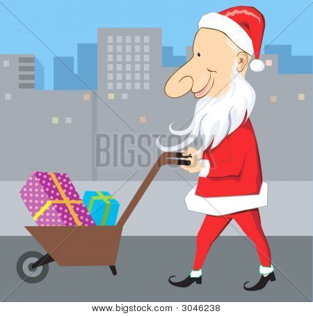 Santa And Wheel Barrow