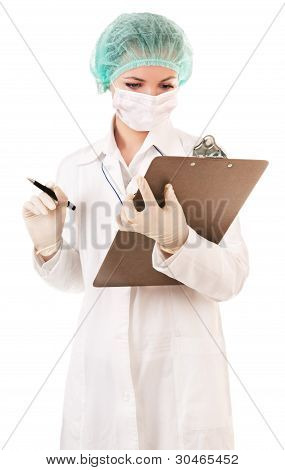 Serious nurse with medical report