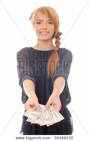 Young Woman Offers To Take The Money