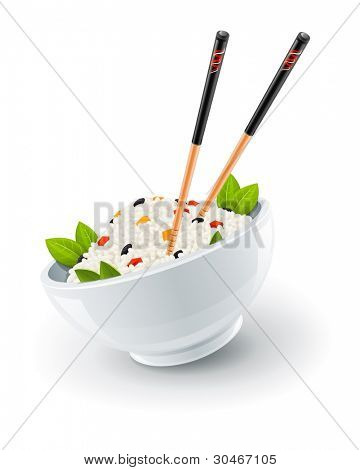 rice in plate with chinese chopsticks vector illustration isolated on white background
