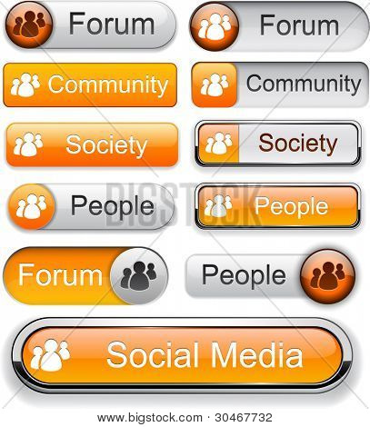 People web orange buttons for website or app. Vector eps10.
