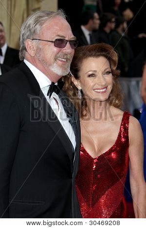 LOS ANGELES - FEB 26:  James Keach; Jane Seymour arrives at the 84th Academy Awards at the Hollywood & Highland Center on February 26, 2012 in Los Angeles, CA.