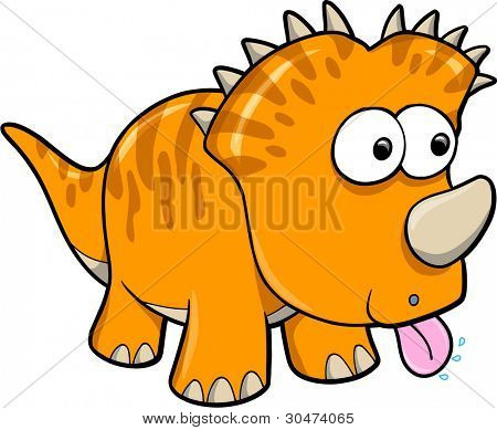 Silly Orange Dinosaur Animal Vector Illustration Art
