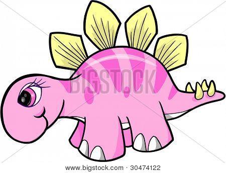 Cute Girl Stegosaurus Dinosaur Vector Illustration