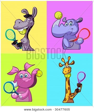 Tennis Playing Fun Animals