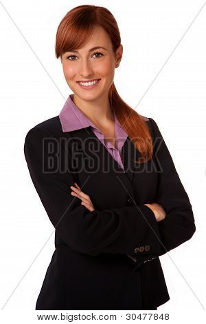 Smiling vibrant Business woman in a suit