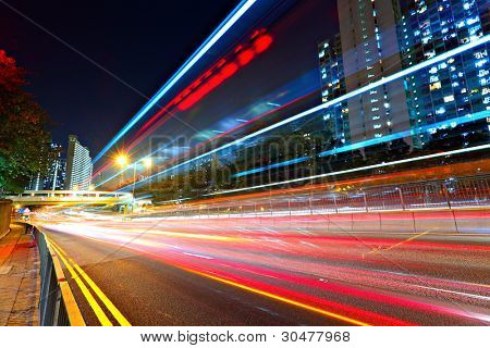 traffic at city in night