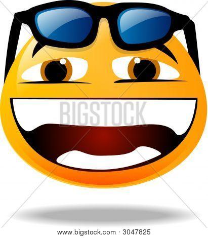 Smiley Icon - Sunglasses Over His Head