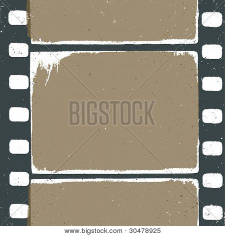 Empty grunge film strip design, may use as a background or overlays.