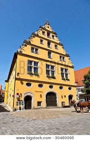 Half Timbered House In Old Romantic Medieval Town Of Dinkelsbuehl In Bavaria, Germay.