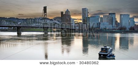 Sunset Over Portland City Skyline Panorama