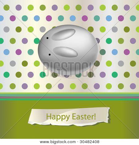 easter bunny egg vector card