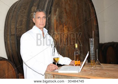 Man testing wine