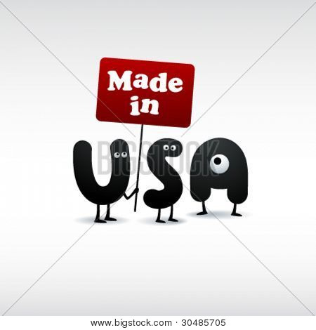 Funny Made in USA illustration - Editable EPS10 Vector