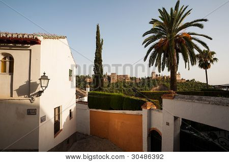 View Towards Alhambra In Old Town Of Granada