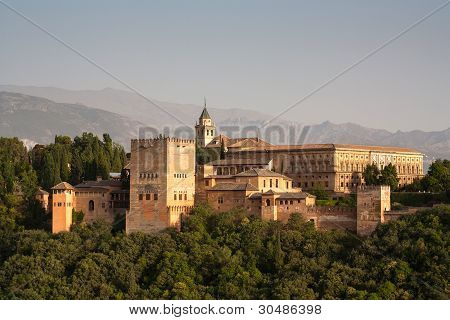 Alhambra Palace Detail With Alpujarra Mountains