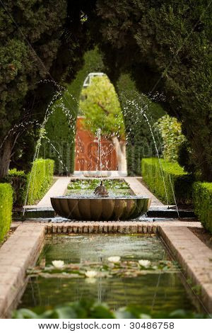 A Fountain In The Generalife Gardens Of The Alhambra Palace