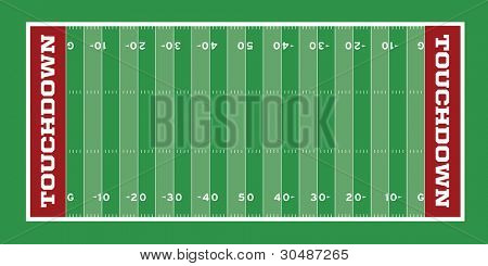 Vector Football Field with hash marks and yard lines