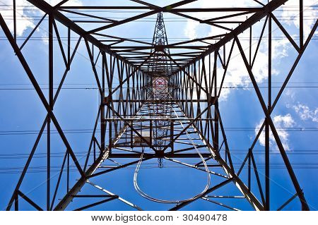 Electricity Tower With Blue Sky
