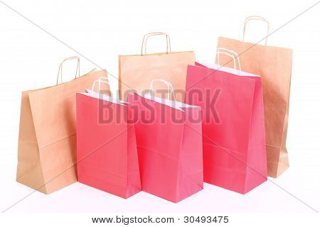 Shopping Red Eco Gift Bags Isolated