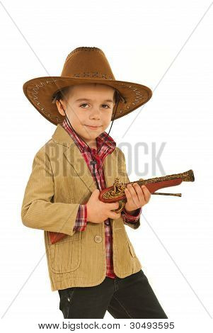 Little Cowboy Holding Weapon Toy