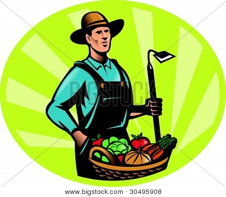 Farmer With Garden Hoe And Basket Crop Harvest