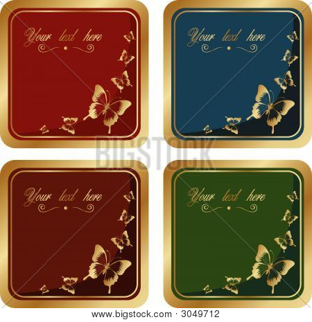 Vector Gold Label With Butterfly For Text