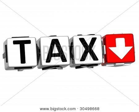 3D Tax Button Block Cube Text