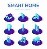 Smart Home. 3d Isometric Icons Set. Remote House Control System. Iot Concept. Smart Home Connection  poster