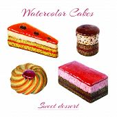 Bakery Goods And Sweets Set. Watercolor Illustration Of Sweet And Delicious Cakes And Cookie. Waterc poster