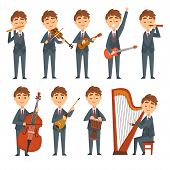 Musicians Boys Playing Different Musical Instruments Set, Talented Children Characters Playing Flute poster
