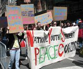 Young activists march in anti-war protest in Manhattan, 4/29/06