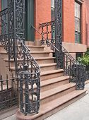 stock photo of bannister  - Entrance to Greenwich Village - JPG