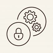 Closed Padlock And Gearwheels In Circles Line Icon. Work Security, Closed Lock, Guard. Business Secu poster