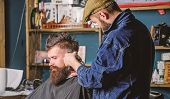 Hipster Lifestyle Concept. Hipster Client Getting Haircut. Barber With Hair Clipper Works On Hairsty poster