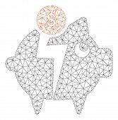 Mesh Piggy Bankruptcy Model Icon. Wire Frame Polygonal Mesh Of Vector Piggy Bankruptcy Isolated On A poster