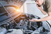 Mechanical Fixing Car At Home. Repairing Service Advice By Mobile Phone. Mechanic, Technician Man Ch poster
