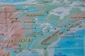 Canada In Close Up On The Map. Focus On The Name Of Country. Vignetting Effect poster