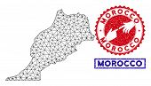 Wire Frame Polygonal Morocco Map And Grunge Seal Stamps. Abstract Lines And Circle Dots Form Morocco poster