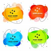 Black Paw Print Icon Isolated. Dog Or Cat Paw Print. Animal Track. Set Of Liquid Color Abstract Geom poster