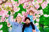 Spring Fashion Family In Spring Garden. Springtime. Summertime. Happy Couple In Flowering Trees. Mot poster