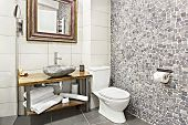 Modern Contemporary Interior Bathroom With Sink And Mirror, Glass Walk In Shower With Marble Tile Su poster