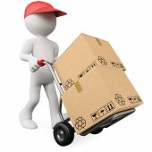 image of diffusion  - 3D worker pushing a hand truck with boxes - JPG