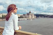 Young Brunette Woman Sightseeing At Budapest, Hungary poster