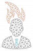 Mesh Burn Businessman Head Polygonal Symbol Vector Illustration. Carcass Model Is Based On Burn Busi poster