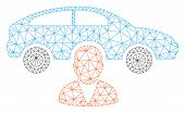 Mesh Car Owner Polygonal 2d Vector Illustration. Carcass Model Is Based On Car Owner Flat Icon. Tria poster