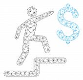 Mesh Business Steps Polygonal Icon Vector Illustration. Model Is Based On Business Steps Flat Icon.  poster