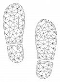 Mesh Boot Footprints Polygonal Icon Vector Illustration. Carcass Model Is Based On Boot Footprints F poster